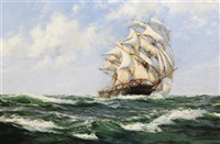 rolling home, american clipper ship the light brigade by montague dawson
