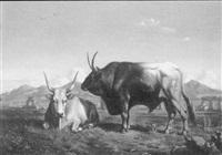 kuh und stier in antiker landschaft by charles coumont