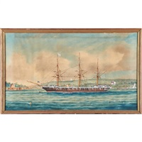 british three-masted sailing ship by george frederick gregory