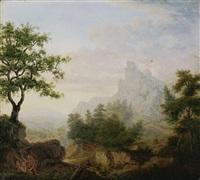 weite gebirgige landschaft mit kain und abel by carl gottlieb peschel