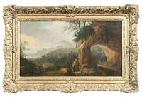 arkadische landschaft mit felsentor und figurenstaffage by cornelis van cuylenburg