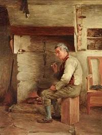 mand, der ryger sin pibe foran ildstedet by william eadie