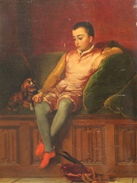 youth seated with a spaniel by florent willems