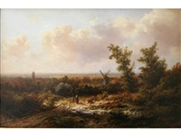 figures on a country track, a windmill beyond by pieter lodewijk francisco kluyver