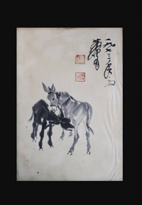 chinese donkeys painting by huang zhou