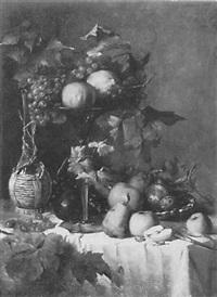 großes stilleben mit weintrauben, weinkaraffe, äpfeln, birnen und zitrusfrüchten auf einem weiß drappierten tisch by anthonie boubong