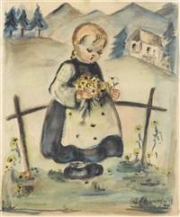 kleines kind mit blumenstrauss by m.i. hummel