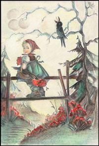 little girl and blackbird by bertha hummel