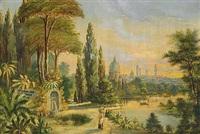 sydlandsk parkanlæg med fontæne, i baggrunden byens tårne by n. m. aagaard