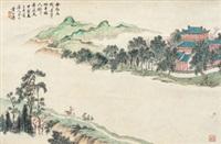 携琴访友图 立轴 纸本 by huang shanshou