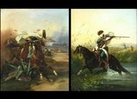araber zu pferd mit säbel (+ araber zu pferd mit gewehr; pair) by victor-jean adam