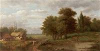 ländliche szene. bauernkaten vor der silhouette einer sadt by maximilien lambert gelissen