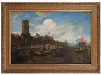 a busy harbour scene with small boats loading at a waterfront by jan abrahamsz beerstraten