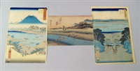 the far bank of the oi river at kanaya, from the series of the fifty three stations of the tokaido, together with two views of fuji, possibly from thirty six views of mount fuji(3 works) by ando hiroshige
