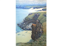 harlyn bay, cornwall; mother ivey's bay (pair) by a. moulton foweraker