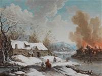 winterlandschaft mit brennendem gehöft by henri-joseph van blarenberghe