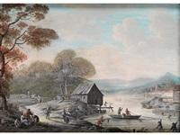flusslandschaft mit reicher figurenstaffage by henri-joseph van blarenberghe