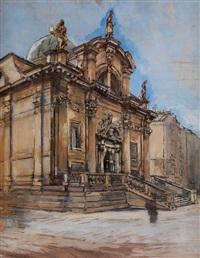 blick auf eine barocke kirche by johann nepomuk geller