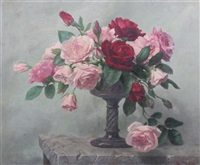 still life of roses in a vase by john e. nicholls