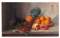 stilleben mit orangen, ananas, rotweinflasche und goldlack by alfrida baadsgaard
