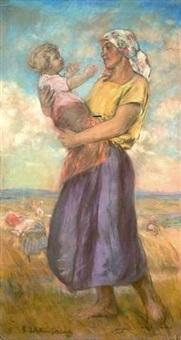 bäuerin mit ihrem kind by ekaterina kachura-falileeva