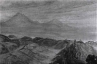 in blaues licht getauchte berglandschaft by ernst (vollbach) vollbehr
