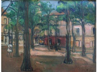 a quiet square in a french town by fernand piet