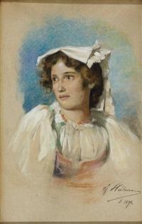 portrait von gilda. hübsche italienerin in tracht by ernst heilemann