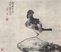 壬申(1692年作) 一鸟一石图 立轴 纸本 by bada shanren