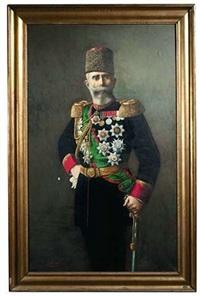 bildnis eines hohen osmanischen offiziers in uniform mit persianermütze by meymum agupenak