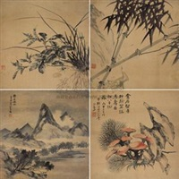 兰竹山水 (四幅) (orchid and bamboo landscape) (set of 4) by song nian