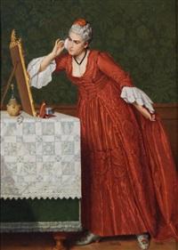 lady behind dressing table by auguste serrure