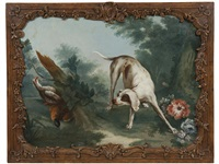 a hunting dog flushing game in a wooded landscape; also a companion painting (pair) by continental school (19)