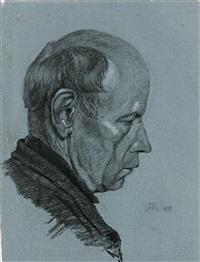 portrait eines herren im profil von rechts by hans thoma