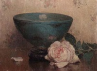 still life of pink rose and bowl by marthe kratke