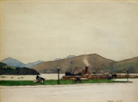 shipping scene with mountainous landscape beyond, possibly port askaig, islay by george houston