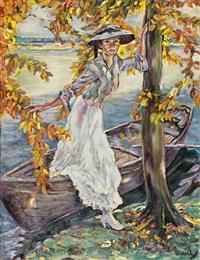 elegant gekleidete dame steigt aus einem nachen aus. uferstück am starnberger see by edward cucuel