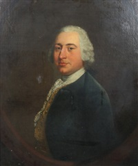 half length portrait of a gentleman wearing a blue jacket and gold waistcoat, in a painted oval by thomas gainsborough