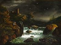 romantische mondnacht mit reißendem wildbach im gebirge bei aufziehendem regen by monogrammist a.b.