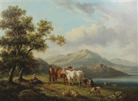 cattle and figures in a mountain landscape by henry milbourne