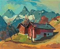 montafoner bergwelt mit blick auf die zimba, im vordergrund alpine häuser by konrad honold