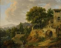 landskap med byggnader och figurer by jean-jacques de boissieu