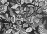 farbige komposition mit figuren und zweigen by claude sandoz