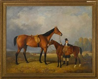a groom with his hack holding his master's horse by william barraud