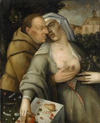 munk och nunna omfamnar varandra by cornelis cornelisz van haarlem
