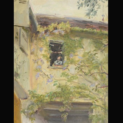 young girl in window slevogthof neukastel by max slevogt
