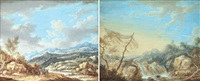 rushing torrent (+ travelers in an expansive landscape; 2 works) by henri-joseph van blarenberghe