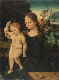 madonna mit kind - im hintergrund blick in eine landschaft mit häusern und fluss by flemish school (16)