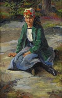 sittande flicka på klipphällen by greta gerell