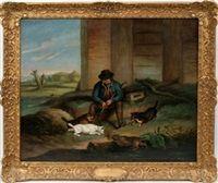 english countryman with dogs by j. ward